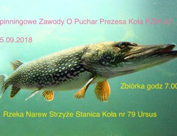 Spinningowe Zawody O Puchar Prezesa Koła nr 22 Zegrze Płd. 15.09.2018